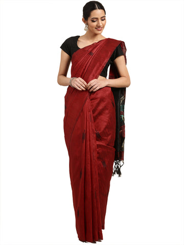 Maroon Color Ikkat Silk Saree - 2149