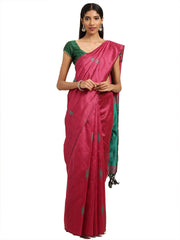 Buy Magenta Color Ikkat Silk Saree