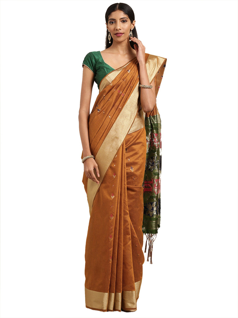 Buy Mustard Yellow Color Ikkat Silk Saree