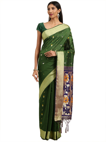 Green Color Ikkat Silk Saree - 2164