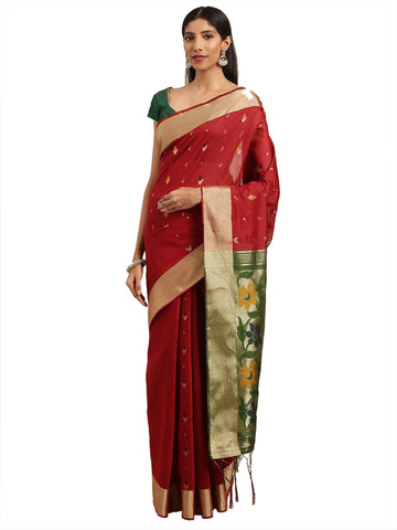 Maroon Color Ikkat Silk Saree - 2165