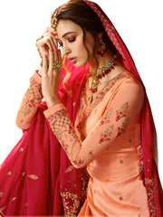 Peach color Satin Semi Stitched Salwar-SLS-2171