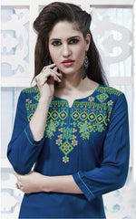 Deep Blue Color Rayon Stitched Kurti - CAT1927 - 21876