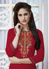 Red Color Rayon Stitched Kurti - CAT1927 - 21878