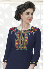 Deep Blue Color Rayon Stitched Kurti - CAT1927 - 21879