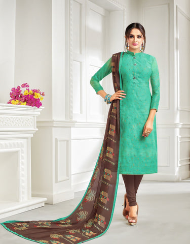 Sea Green Color Chanderi Cotton UnStitched Salwar  - 21DMK622