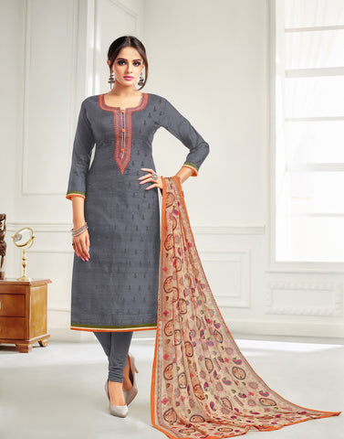 Grey Color Chanderi Cotton UnStitched Salwar  - 21DMK627
