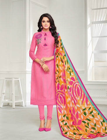 Pink Color Chanderi Cotton UnStitched Salwar  - 21DMK628