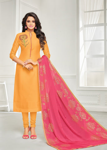Mustard Color Chanderi Cotton UnStitched Salwar  - 21DMK634