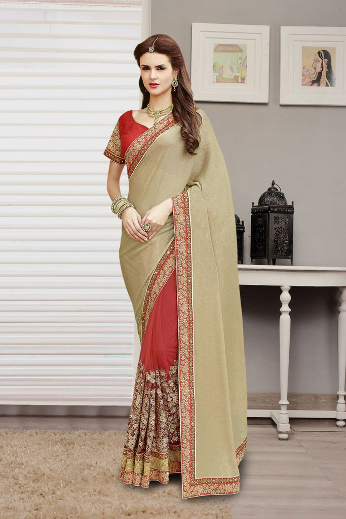 Beige Color Chiffon and Net Saree - 2202
