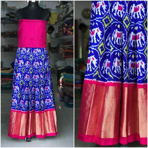Multi Color Un Stitched Ikat Silk Girls Pochampally Lehenga - LS-WA0099