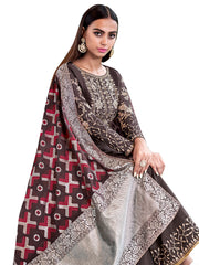 Coffee Color Art Silk Women's Semi-Stitched Salwar Suit - SL-2273