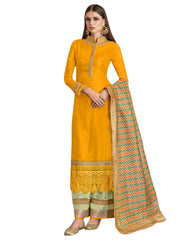 Yellow Color Satin Women's Semi-Stitched Salwar Suit - SL-2275