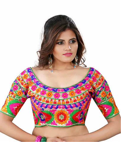 Multi Color Silk Stitched Blouse - 22Gota