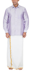 Light Lilac Color Soft Art Silk Dupion Mens Shirt - Col115