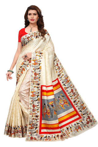 Beige Color Khadi Silk Printed Saree - 22