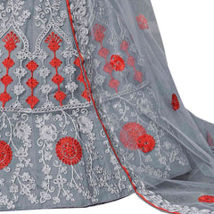 Grey Color Net Semi Stitched Lehenga - AMAIRAH-23001