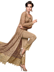 Beige Color Net Women's Semi Stitched Salwar Suit - SL-2354