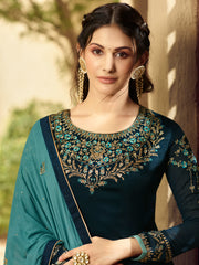 Navy Blue Color Satin Women's Semi-Stitched Salwar Suit - SL-2372
