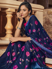 Navy Blue Color Linen Women's Saree - SL-2386