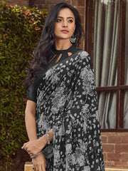 Black Color Linen Women's Saree - SL-2387