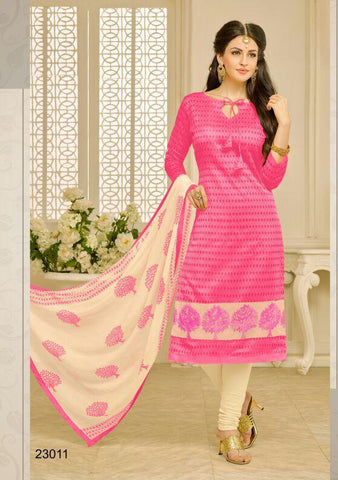 Pink Color Chanderi UnStitched Salwar  - 23AKS23011