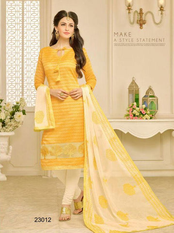 Yellow Color Chanderi UnStitched Salwar  - 23AKS23012