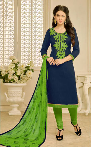 Navy Blue Color Chanderi UnStitched Salwar  - 23AKS23013