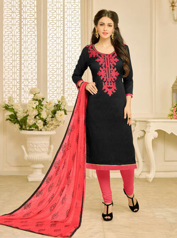 Black Color Chanderi UnStitched Salwar  - 23AKS23014