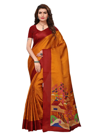 Brown Color Khadi Silk Printed Saree - 23