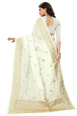 White Color Art Silk Saree - D.no-2401