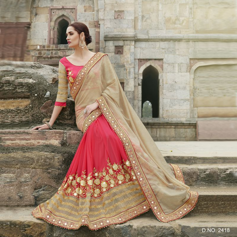 Beige Color Chiffon Saree - 2418