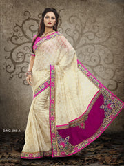 Beige Color Georgette and Jacquard Saree
