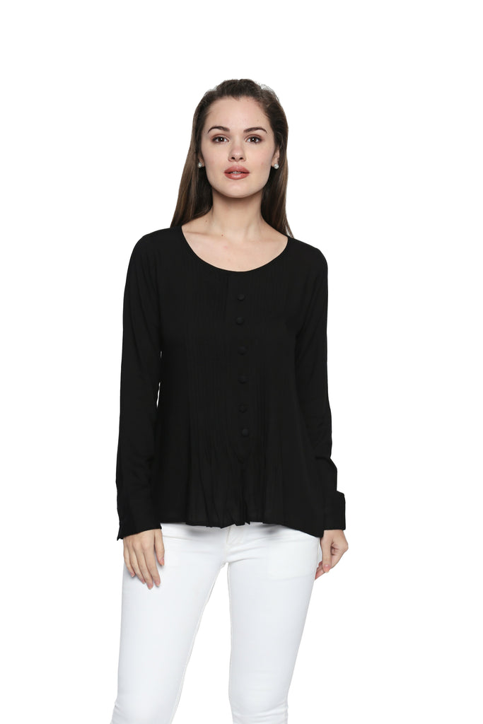 Buy Black Color Cotton Rayon Top
