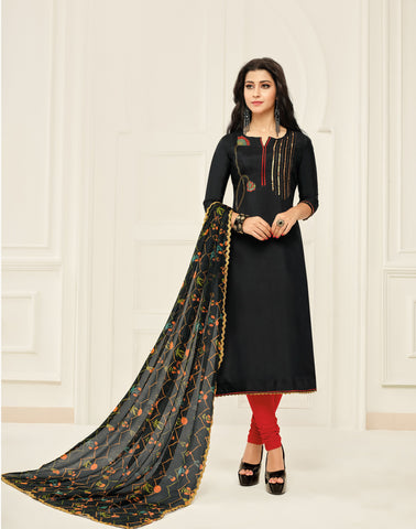 Black Color Chanderi Cotton Unstitched Salwar - 24DMK900