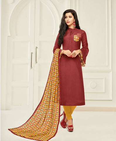 Maroon Color Chanderi Cotton Unstitched Salwar - 24DMK902