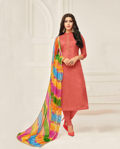 Peach Color Chanderi Cotton Unstitched Salwar - 24DMK904