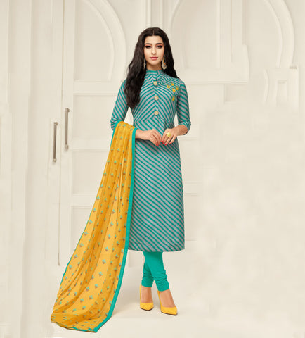 Grey and Green Color Chanderi Cotton Unstitched Salwar - 24DMK905