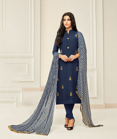 NavyBlue Color Chanderi Cotton Unstitched Salwar - 24DMK906