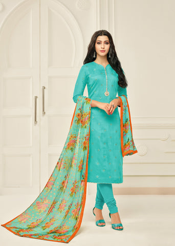 Sea Green Color Chanderi Cotton Unstitched Salwar - 24DMK907