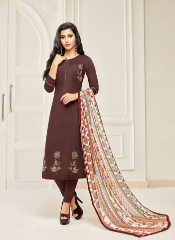Brown Color Chanderi Cotton Unstitched Salwar - 24DMK908
