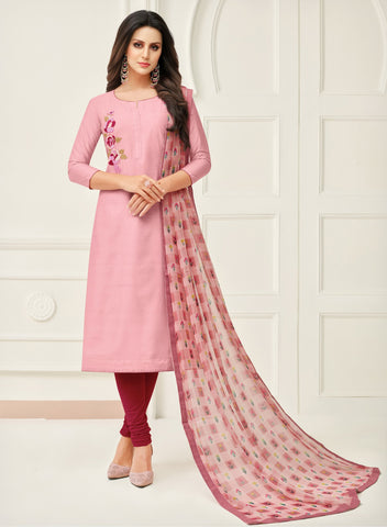 Mauve Color Chanderi Cotton Unstitched Salwar - 24DMK910