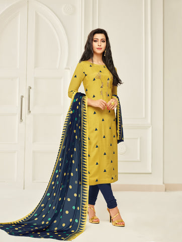 Yellow Color Chanderi Cotton Unstitched Salwar - 24DMK911