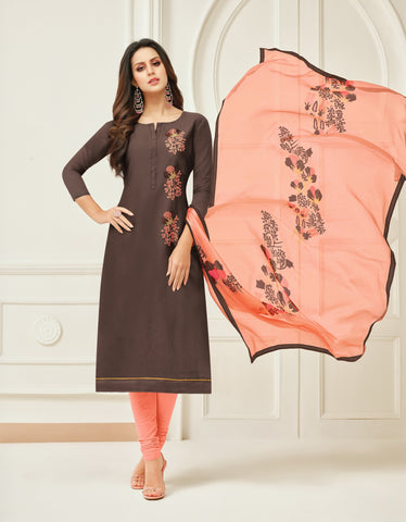 Brown Color Chanderi Cotton Unstitched Salwar - 24DMK912