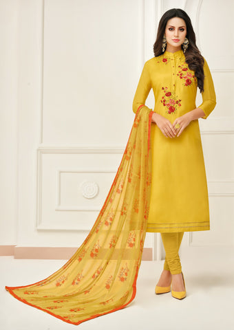 Yellow Color Chanderi Cotton Unstitched Salwar - 24DMK913