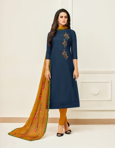 NavyBlue Color Chanderi Cotton Unstitched Salwar - 24DMK914