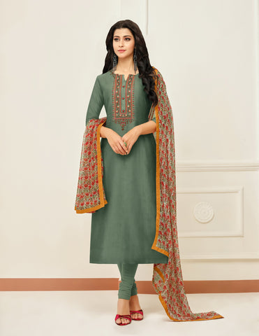 Olive Color Chanderi Cotton Unstitched Salwar - 24DMK915