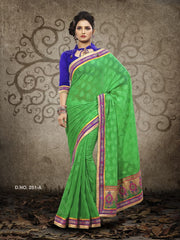 Green Color Marble Jacquard Saree