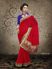 Red Color Marble Jacquard Saree