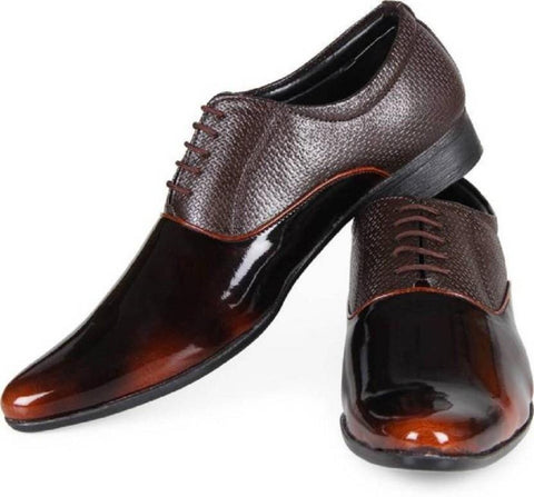 Brown Color Patent Leather Shoes - 2510-BROWN